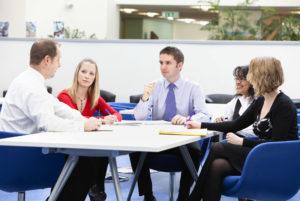 Team work around a table